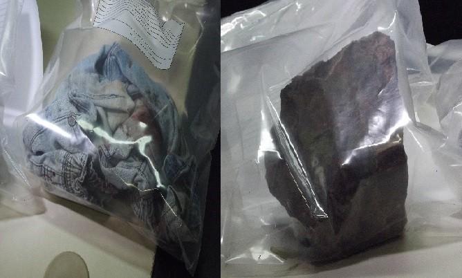 Bermuda de Pedro lucas e a pedra utilizada no homicídio do menino de 9 anos (Foto: Heitor Moreira)