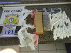 Polícia apreende drogas e munições dentro de táxi em Jaguaribe, no Ceará