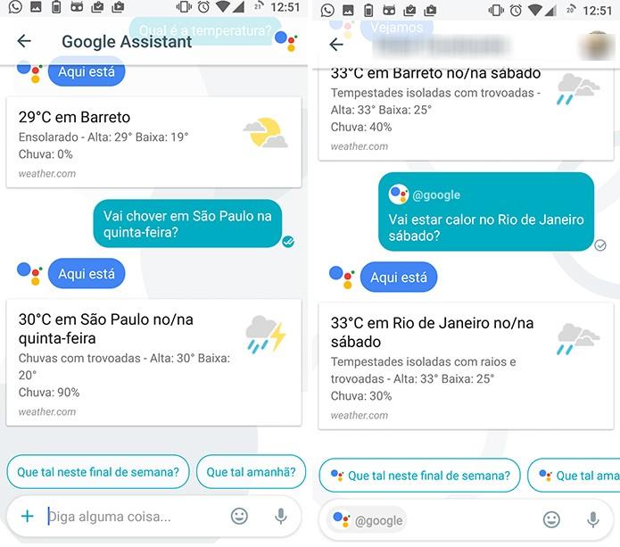 Google Assistant pesquisa por clima em cidades dentro do Allo (Foto: Reprodução/Elson de Souza)