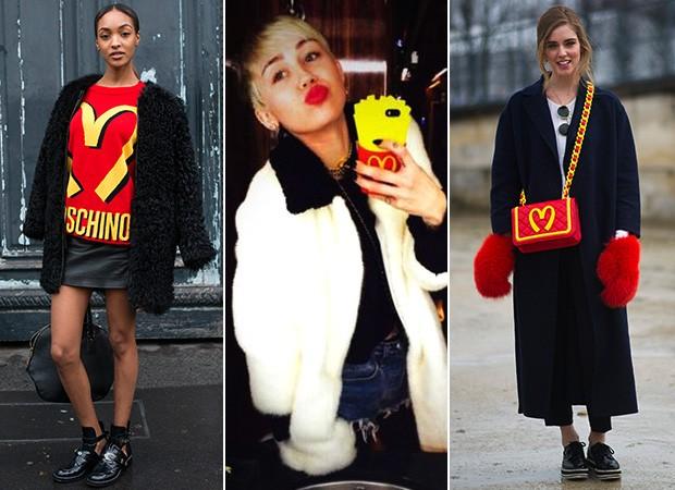 Coleção Moschino - Estampa McDonald's - Chiara Ferragni, Miley Cyrus e Jourdan Dunn (Foto: Agência Getty Images - Reprodução / Twitter - Agência Getty Images)