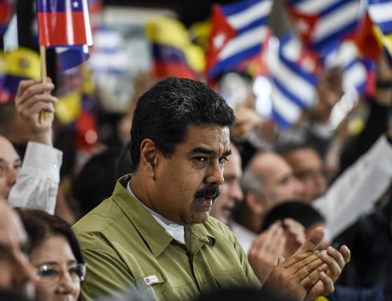O presidente da Venezuela, Nicolás Maduro, durante viagem a Havana, para o funeral de Fidel Castro. Seu governo vive uma crise sem precedentes. (Foto: JUAN BARRETO/AFP)