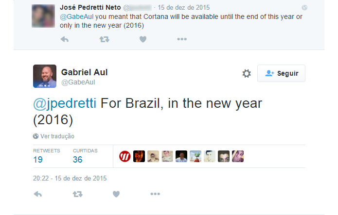 Assistente da Microsoft deve chegar ao Brasil em 2016, diz gerente (Foto: Reprodução/Twitter)
