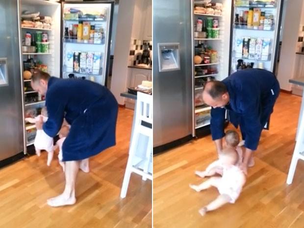 Vídeo fofo de pai afastando gêmeos da geladeira faz sucesso na web