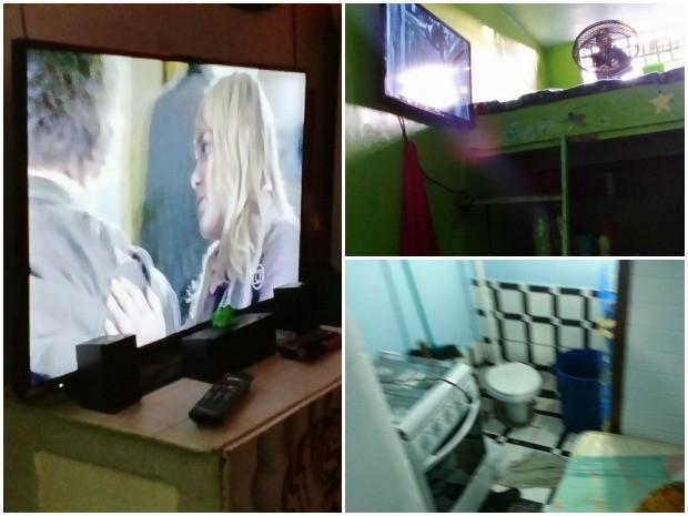 TVs de tela plana, home theater e fogões equipam celas de presos na Peniteniciária Agrícola de Monte Cristo (Foto: Arquivo pessoal)