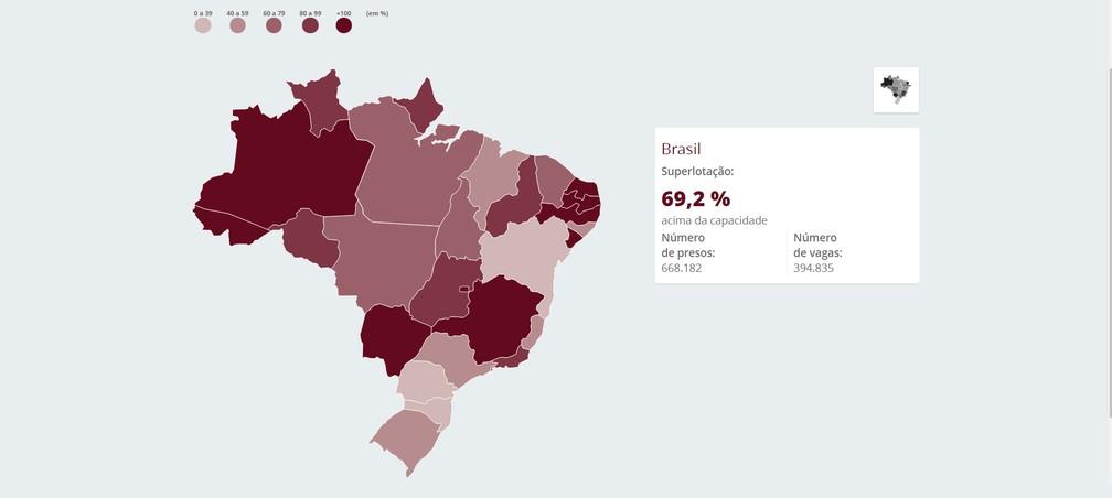 Mapa mostra superlotação dos presídios no país (Foto: Editoria de Arte/G1)