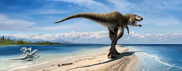 """Ilustração mostra o dinossauro Lythronax argestes, considerado o """"tio-avô"""" do T-Rex (Foto: Museu de História Natural da Utah/Audrey Atuchin/AP)"""