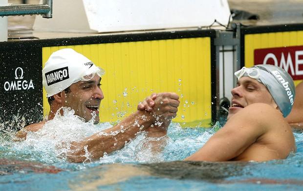 Nicholas dos Santos e Cesar Cielo natação prova 50 m (Foto: Satiro Sodré / CBDA)