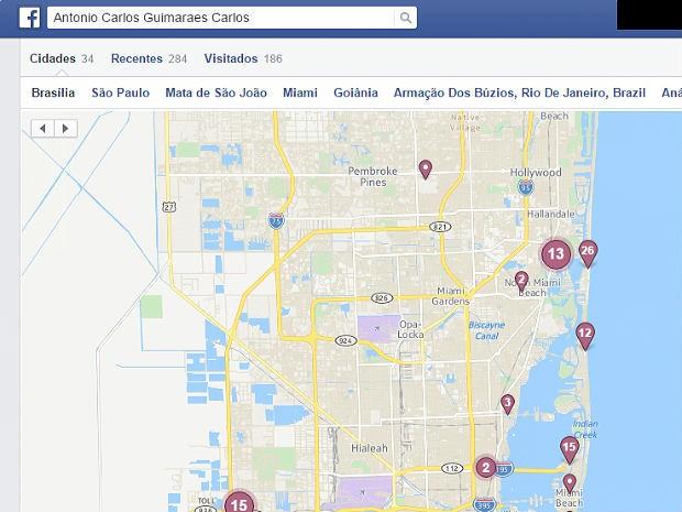 Informações em rede social mostram 'check-ins' em Miami, nos EUA; Polícia Civil diz que viagem nunca aconteceu (Foto: Facebook/Reprodução)