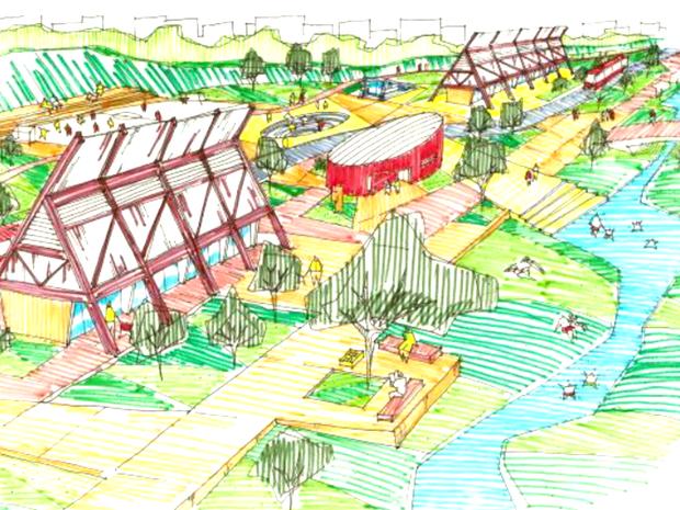 Croqui do Parque Linear da Prainha com proposta de equipamentos públicos a serem construídos com materiais locais. (Foto: Geovany Jessé Alexandre Silva/Arquivo Pessoal)