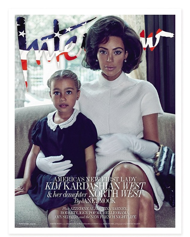 Kim Kardashian e a filha, North West (Foto: Steven Klein for Interview Magazine/Divulgação)