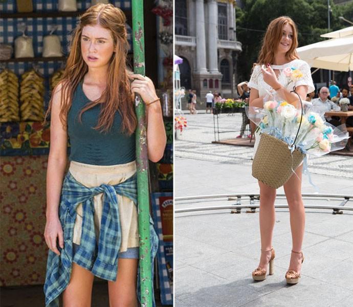 Marina Ruy Barbosa como Eliza, antes e depois  (Foto: Fábio Rocha/Gshow )