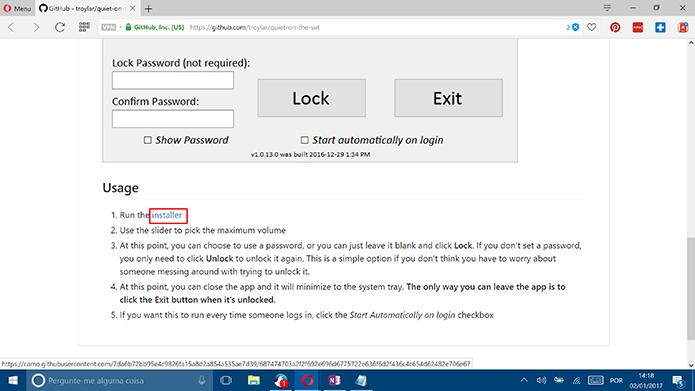 Baixe o Quiet on the set no GitHub para ativar o limite de volume do Windows (Foto: Reprodução/Elson de Souza)