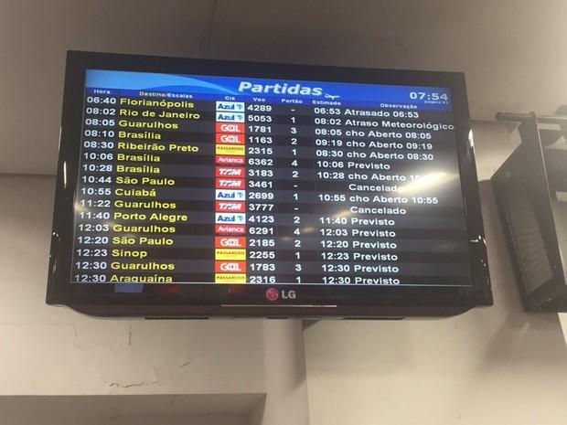 Dois voos foram cancelados em Goiânia, Goiás (Foto: Murillo Velasco/ G1)