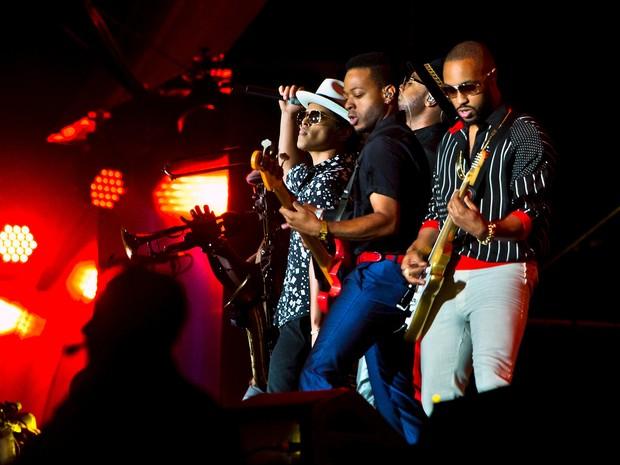 ROCK IN RIO USA: O cantor Bruno Mars se apresenta com sua banda no encerramento do Rock in Rio USA (Foto: L.E. Baskow/Reuters)