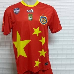 Camisa do Madureira em homenagem à viagem proibida à China (Foto: Fabricio Salvador / Madureira Esporte Clube)