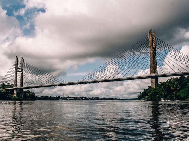 Ponte tem 378 metros de extensão entre o Amapá e Guiana Francesa (Foto: Divulgação/Secom )