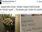 Maradona envia rosas e bilhete de agradecimento a Cristina Kirchner
