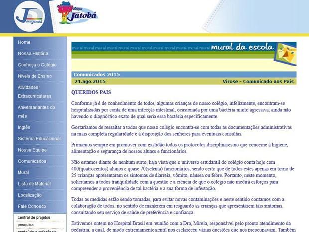 Colégio Jatobá divulgou nota de esclarecimento aos pais sobre o ocorrido em Santo André (Foto: Reprodução)