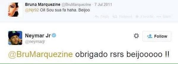 Primeira interação de Bruna Marquezine e Neymar (Foto: Reprodução/Twitter)