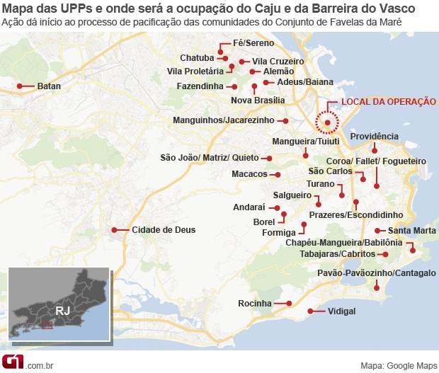 Mapa das UPPs e onde será a ocupação do Caju e da Barreira do Vasco (Foto: Editoria de Arte/G1)