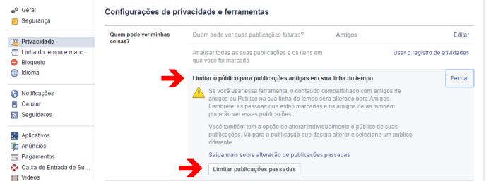Alterando a privacidade dos post antigos no Facebook (Foto: Reprodução/Lívia Dâmaso)
