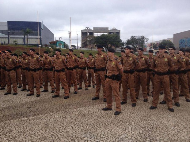 Os 229 soldados, todos aprovados em concurso público, foram apresentados na quinta-feira (29), no Parque Ambiental de Ponta Grossa, na região dos Campos Gerais do Paraná.  (Foto: Flávio Bernardes/RPC TV)