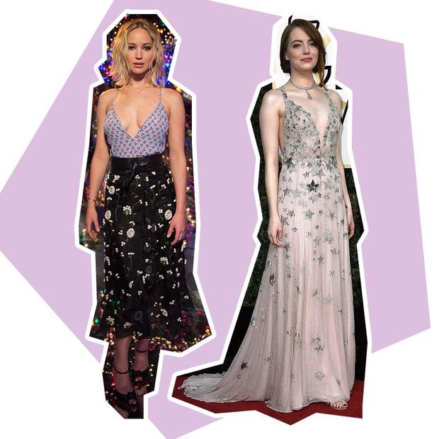 Decote: Jennifer Lawrence + Emma Stone (Foto: Reprodução e Getty)