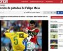 """Jornal uruguaio destaca """"coleção de patadas"""" do palmeirense Felipe Melo"""
