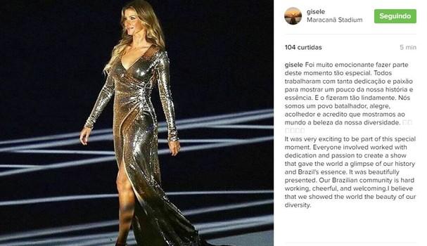 Gisele fez o post neste sábado, 6 (Foto: Reprodução/ Instagram)