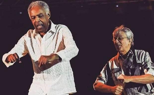 Caetano e Gil - dancinha (Foto: Reproduo)