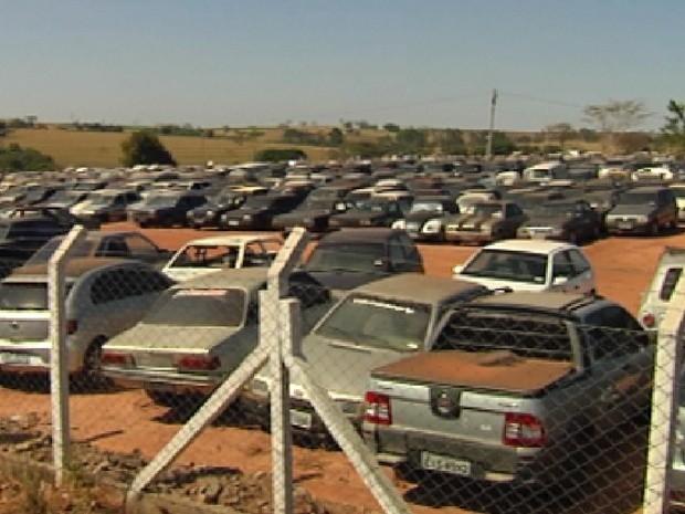 Pátio modelo é para onde os carros guinchados em Rio Preto vão parar (Foto: Reprodução / TV Tem)