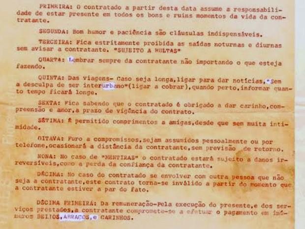 Cláusulas de 'contrato de amor' descoberto por servidora pública ao reformar apartamento em Brasília (Foto: Renata Vasconcellos/Arquivo Pessoal)