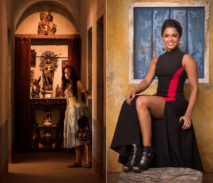 A pequenina Carla Fabiana será Luzia na primeira fase da novela. Posteriormente, Larissa Góes e Lucy Alves assumem o papel nos diferentes momentos. Na foto, a finalista da segunda temporada do The Voice Brasil posa durante a festa de lançamento de 'Velho Chico' (Foto: Caiuá Franco/ Globo)