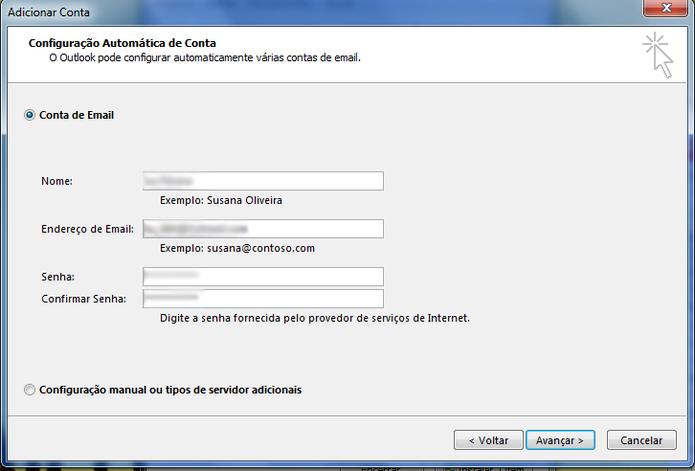 Na página de configuração de conta do Outlook, adicione a conta de e-mail se sua preferência (Foto: Reprodução / Lu Fávero) (Foto: Na página de configuração de conta do Outlook, adicione a conta de e-mail se sua preferência (Foto: Reprodução / Lu Fávero))