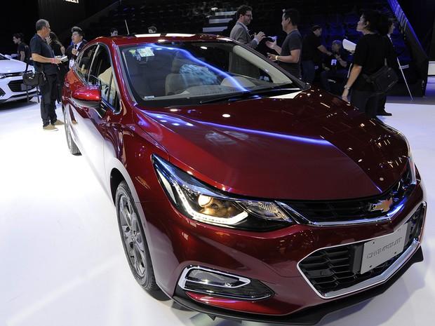 A Chevrolet apresenta a nova geração do Cruze Hatch no Salão do Automóvel de São Paulo 2016 (Foto: Alan Morici/G1)