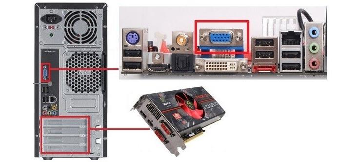 O primeiro retângulo, acima, indica as conexões on-board. Já o segundo, abaixo, indica as conexões de novos componentes, como uma placa de vídeo dedicada.