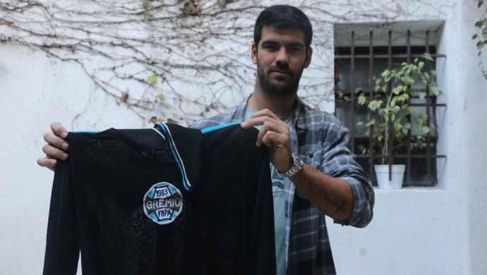Sebastián Alfredo Ferrero, filho do ex-goleiro Ricardo Oso Ferrero, do Rosario Central, camisa do Grêmio (Foto: Eduardo Moura/GloboEsporte.com)