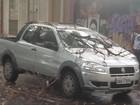 Carro tem para-brisa quebrado por galho de árvore em Belém
