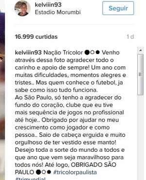Kelvin despedida São Paulo (Foto: Reprodução/Instagram)
