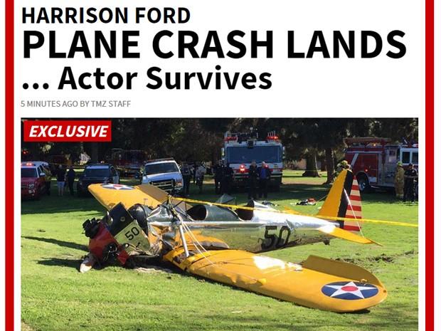 Site afirma que Harrison Ford sofreu acidente de avião nos EUA, mas sobreviveu (Foto: Reprodução/TMZ)