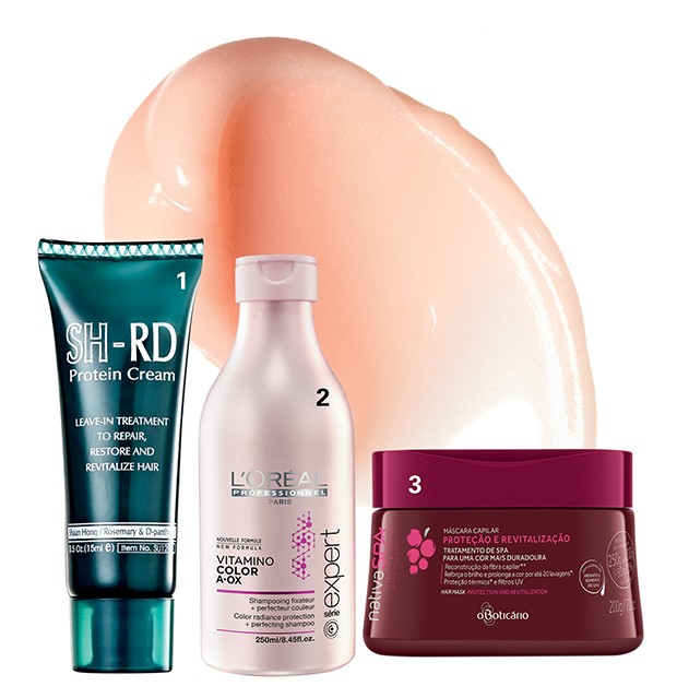 1. Leave-in reparador SH-RD Protein Cream, R$ 33, Shaan Honq na Sephora; 2. Xampu para cabelos coloridos Vitamin Color A.OX, R$ 73, L'Oréal Professionnel; 3. Máscara capilar com extrato de absinto e semente de uva, R$ 45, O Boticário (Foto: .)
