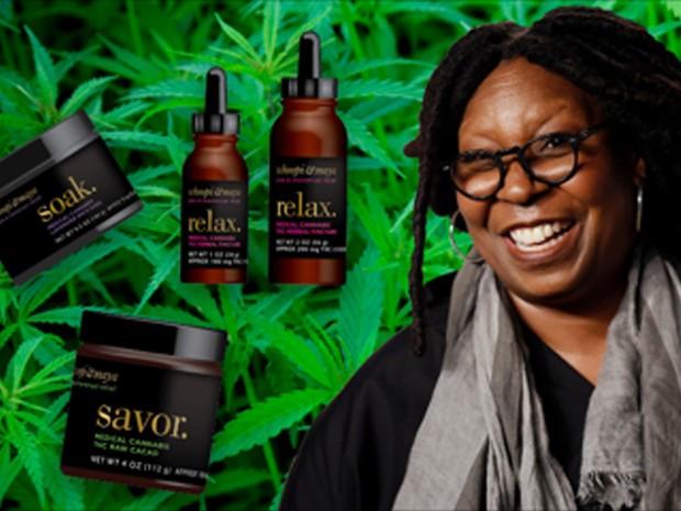 Whoopi Goldberg mostrou em sua página no Facebook os produtos com THC que está lançando (Foto: Reprodução  / Facebook da atriz)