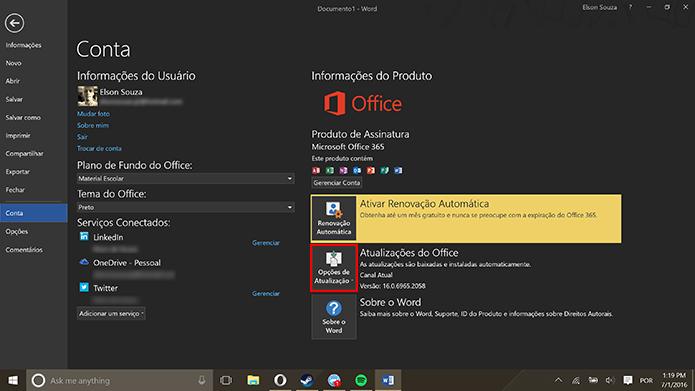 Usuário deve escolher modo de atualização adequado no menu de contas (Foto: Reprodução/Elson de Souza)
