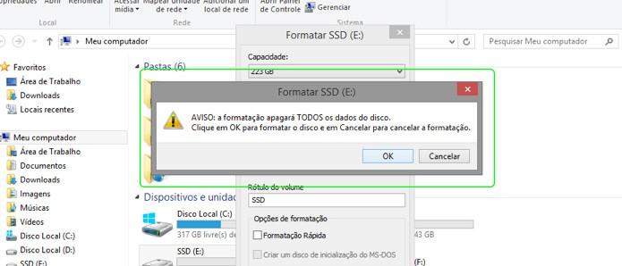 Ao formatar um disco, todos os dados são excluídos (Foto: Reprodução/Adriano Hamaguchi)