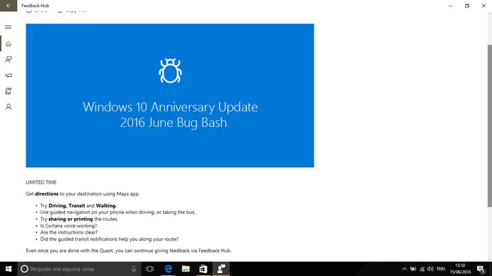 Bug Bash do Windows 10 é um evento da Microsoft para identificar problemas (Foto: Reprodução/Elson de Souza)