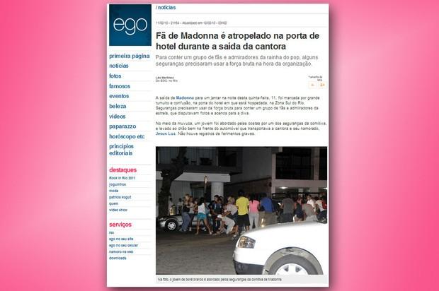 2010: Fã de Madonna é atropelado em porta de hotel no Rio (Foto: Reprodução/Internet)
