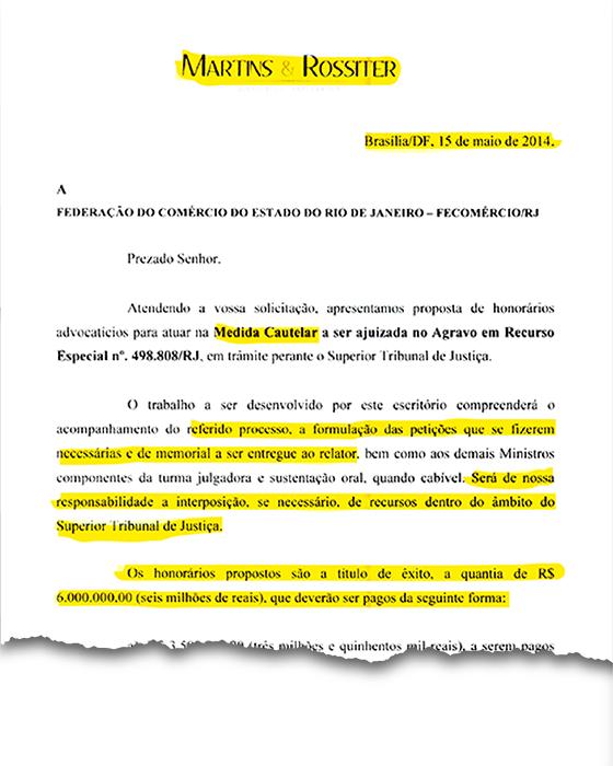 Proposta enviada pelo advogado Eduardo Martins em maio de 2014. A ex-diretora da Fecomércio afirma que só recebeu em dezembro (Foto: Reprodução)