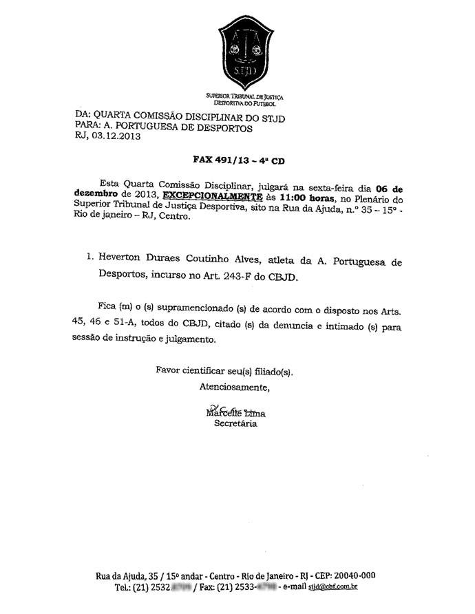 Fax STJD Portuguesa Heverton