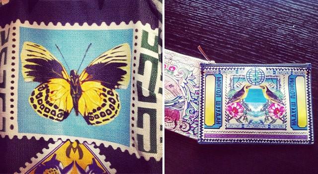 Borboleta no detalhe da estampa de Mary Katrantzou; à direita, carteiras que a estilista lança nesta temporada (Foto: Reprodução/Instagram)