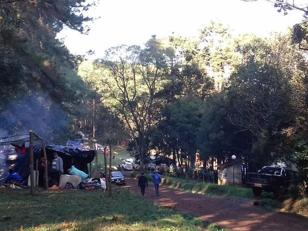 Ocupação em Chapecó neste sábado (4) (Foto: Isabel Malheiros/RBS TV)